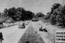 "The road section monitored by the speed radar set of the Connecticut State Police, near Glastonbury, Connecticut. Anon., ""L'actualité en images – Pièges à comboys."" La Patrie, 16 February 1949, 14."