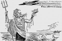 "Editorial cartoon showing King Neptune offering his crown to the crew of the English Electric Canberra which crossed the Atlantic Ocean in February 1951. Charles R. Knight, ""Ready to Abdicate."" The Windsor Daily Star, 22 February 1951, 4."