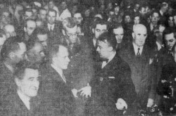 "Some personalities present at the inauguration of the École d'avionnerie de Cartierville, Cartierville, Québec, 3 March 1941. Anon., ""À l'inauguration de l'École d'avionnerie de Cartierville."" La Presse, 4 March 1941, 19."