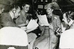 "Canadian Broadcasting Corporation radio host Claire Wallace interviewing Trans-Canada Air Lines interior accommodation engineer Diana Jocelyn Dudley, January 1946. Anon. ""Air Transportation – Radio Broadcast over Niagara."" Canadian Transportation, April 1946, 200."