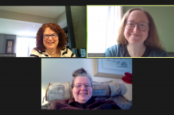 Three women are visible in separate windows in a virtual meeting screen.