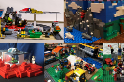 A collage of the 5 winning LEGO creations for each category.