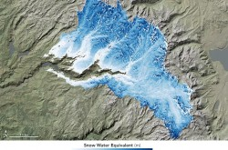 Satellite image of the snowpack in the Sierra mountains