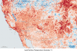 A heat map of the American south west, including California, Arizona, Nevada, New Mexico, Utah, and Colorado. The map indicates where the temperature at a given location is above or below historical average.