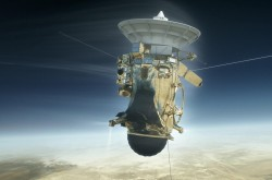 An artist impression of the Cassini spacecraft just above the atmosphere of Saturn.