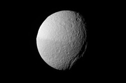 An image of Tethys, a moon of Saturn, taken by the Cassini spacecraft
